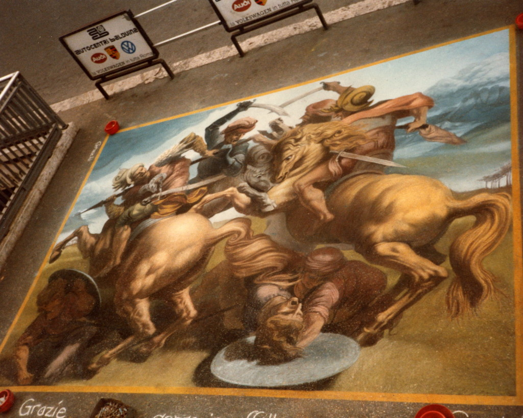Wenner after Leonardo and Rubens. Battle of Anghiari. Rome, Italy. In the case of this composition, the original painting has been lost, and it can only be re-created by referring to copies of it.
