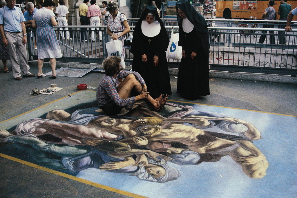 Conversation with nuns. Rome was filled with clergy and pilgrims who were especially appreciative of the street painters.