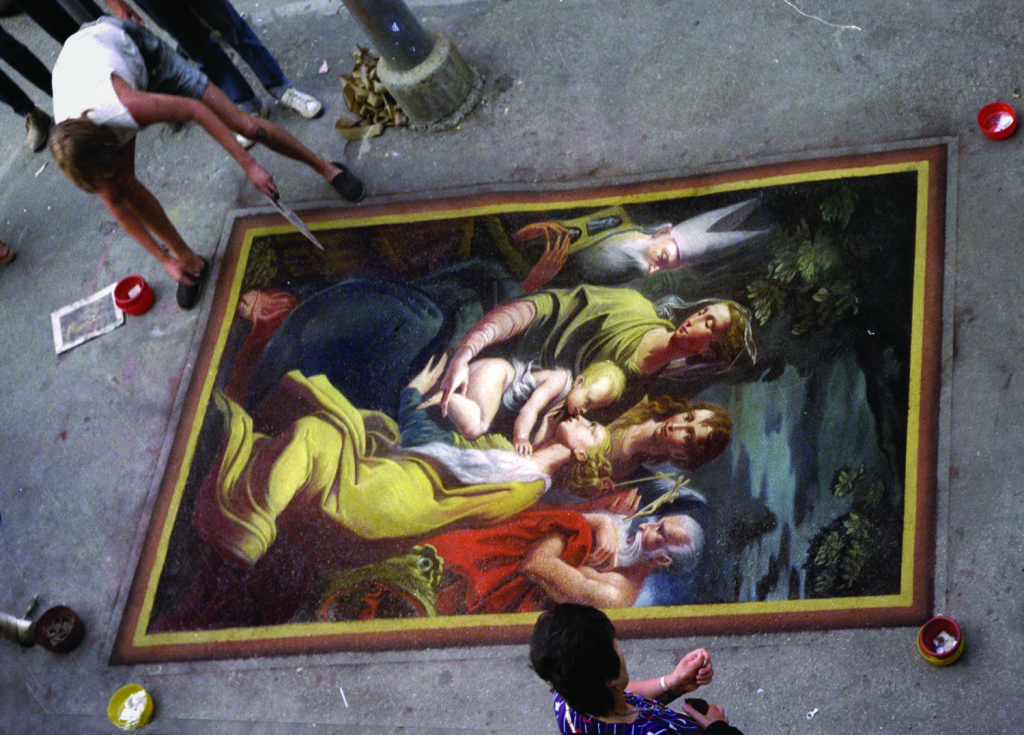 Wenner after Parmigianino. Madonna di Santa Margherita. Rimini, Italy. In the summer, street painters follow the Italians in their migration from the cities to the coastlines and mountains.