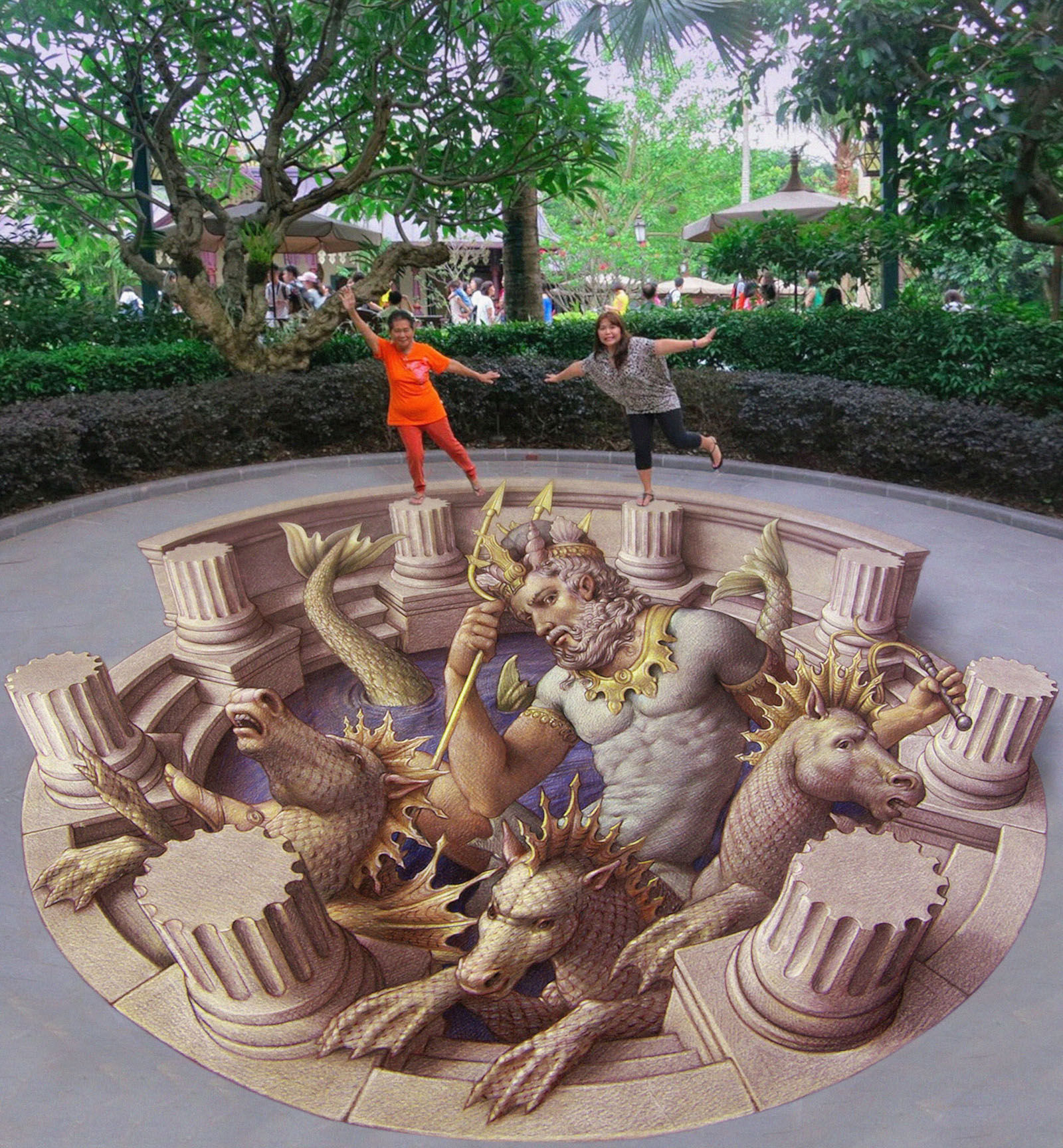 pavement art, 3d pavement art, street painting Kurt Wenner Neptune's Chariot