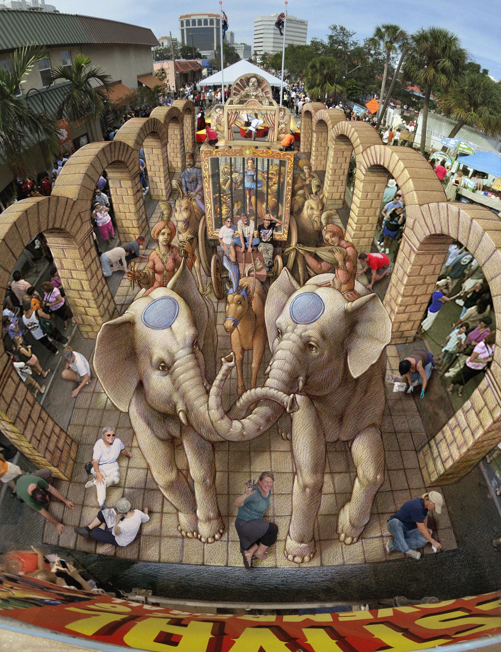 3d Pavement art 3D street art Kurt Wenner circus