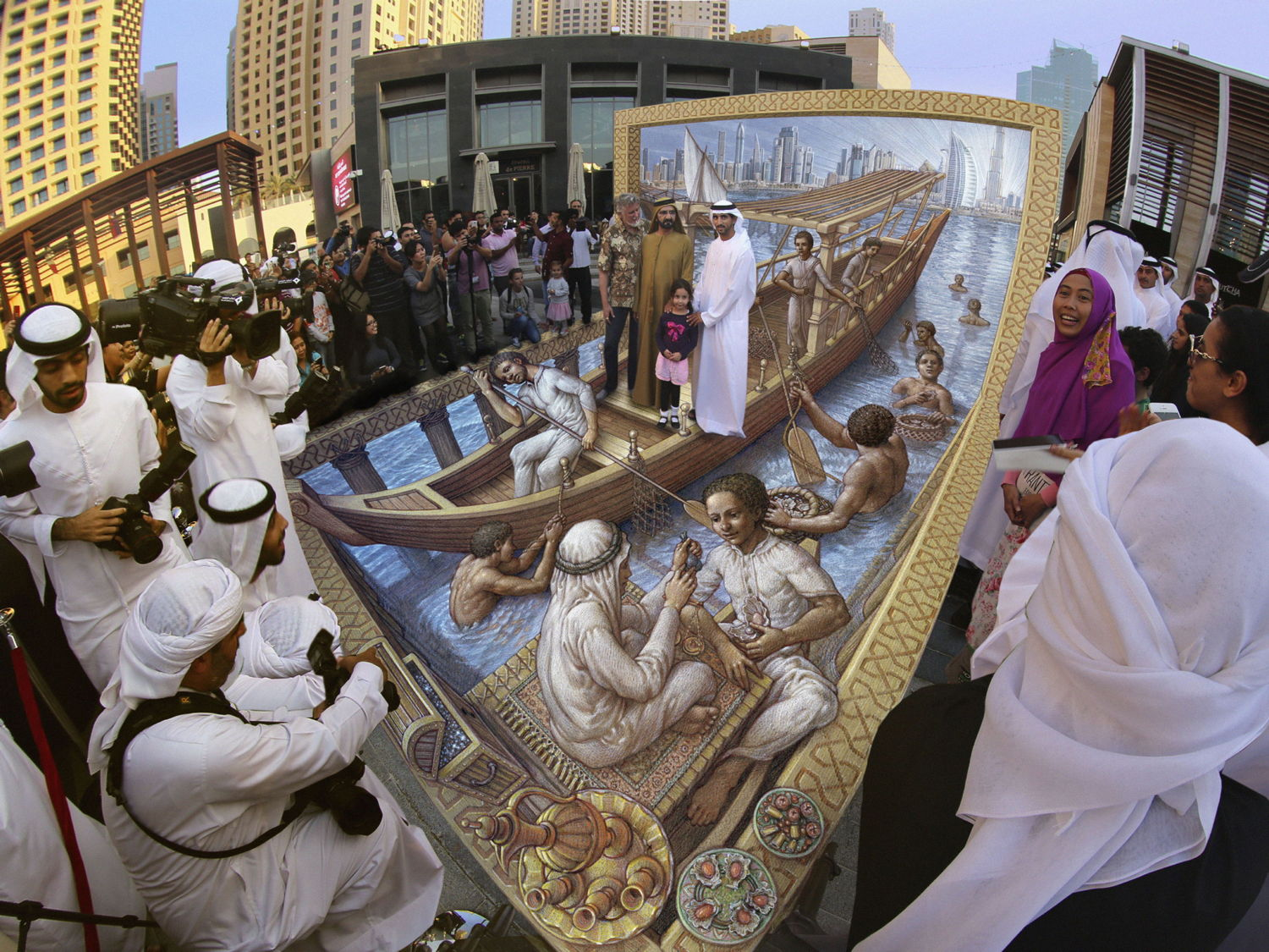 3d Pavement art 3D street art Kurt Wenner pearls of dubai