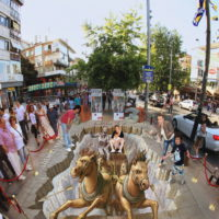3D pavement art street art by Kurt Wenner
