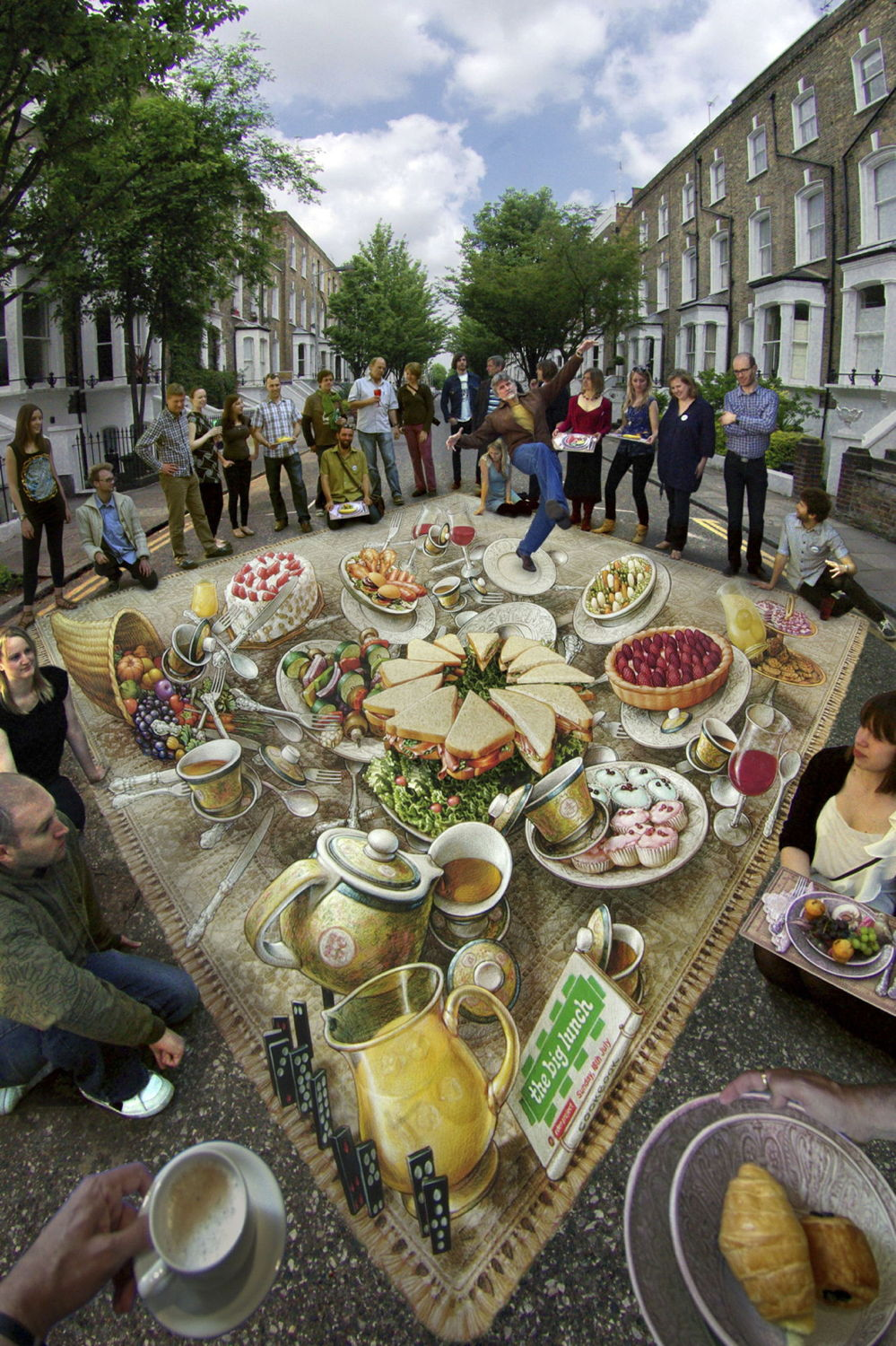 3d Pavement art 3D street art Kurt Wenner big lunch food