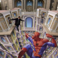 3D pavement art street art by Kurt Wenner