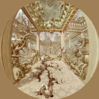 Kurt Wenner drawing & pastel Fall of Pompeii fisheye