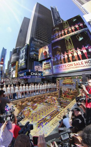 109. Title: Christmas in AugustClient: New York RockettesLocation: New York, New York; Pavement Art; 3D Pavement Art; Street Painting; 3D Street Painting; Street Art; 3D Street Art; Chalk Art; 3D Chalk Art; Illusion; 3D Illusion; 3D Art; www.kurtwenner.com; www.kurtwenner.com/blog; https://www.facebook.com/KurtWenner